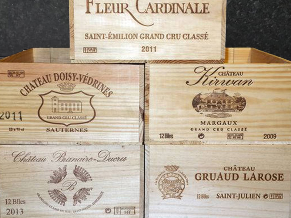 Grand Cru Class 12 Bottle French Wooden Wine Box First Growth Wine Crate