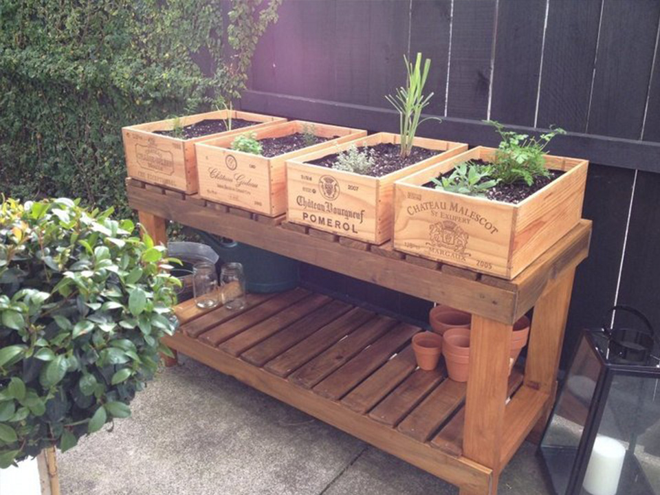 1 X FRENCH CHIC RETRO GENUINE WOODEN WINE CRATE BOX PLANTER DRAWERS STORAGE