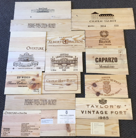 Assorted Branded Wine Crate Panels Wood Wine Box Sides Ends Tops